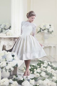10 adorable tea-length wedding dresses.... This one in particular makes me so happy!