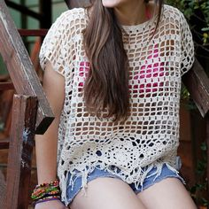 Free downloadable pattern for Dancing Daisy coverup/top from Nurturing Fibres