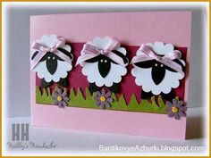 Sheep = scallop circle punch, five petal flower punch (will have to improvise here, maybe use the word window punch), Boho blossom punch, hand-cut grass Arte Punch, Sheep Cards, Punch Art Cards, Paper Punch, Kids Cards, Baby Cards, Creative Cards, Cute Cards, Scrapbook Cards