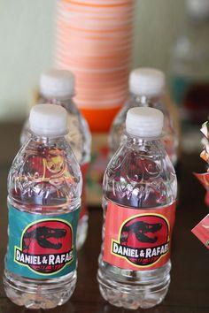 rótulos água mineral personalizados Festa de Dinossauros