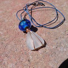 Nunavut  Authentic Beach Glass and Artisan Lampwork Necklace by ReasonablyRustic, $26.00