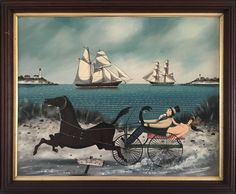 "Rafael Osona Auctions Nantucket MA - Ralph Eugene Cahoon Jr. ""Racing to the Wharf Rats Club"", oil on Masonite"