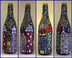 idea, upcycle, repurpose, Mosaic wine bottles