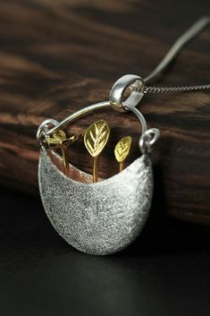 """""""My Little Garden"""" silver Necklace. """"Everyone has built a little garden to hide her own secret not to share with others, but only for occasional memories"""". Free shipping within 7 business days to the UK !!"""