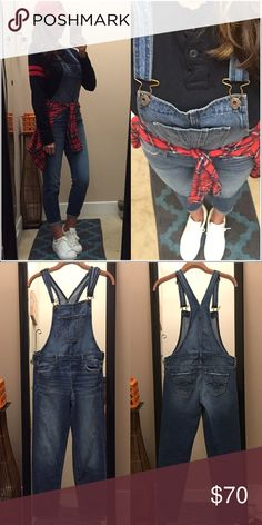 """🎃fitted overalls Skinny leg, fitted style overalls. Medium wash. Adjustable shoulder straps. New condition. ****check measurements for sizing! Laying flat •W 15"""" •Inseam 26"""" •Rise 19"""" I'm 5'5 for reference Abercrombie & Fitch Jeans Overalls"""