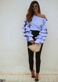 Striped Bow Tie Split Ruffle Sleeve Blouse - So in love with this top!