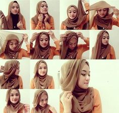 hijab tutorials for round faces