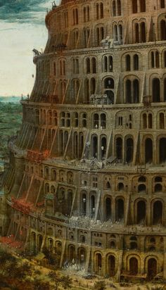 "(DETAIL)The ""Little"" Tower of Babel by   Pieter Bruegel the Elder and details.. Bruegel's paintings are filled with miniature figures. Here he depicts the construction of the tower of babel, showing it  being build on one side and destructing on the other  at the same time. slanting away. Perhaps hinting at society's decay as we build it."