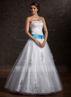 a01df2da887 Ball-Gown Strapless Floor-Length Satin Tulle Quinceanera Dress With Lace  Sash Beading Bow(s) - JJsHouse