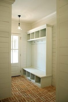 Brick basket weave mudroom floor