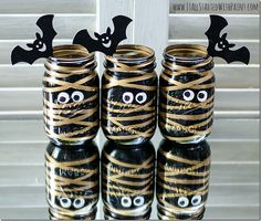 Painted Mummy Mason Jars