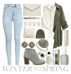 """""""Winter to Spring"""" by meaganmuffins ❤ liked on Polyvore featuring H&M, Essie, Rebecca Minkoff, Topshop, Clinique, philosophy, Ethan Allen, Witchery, Berry and Billabong"""