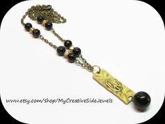 Gold peace pendant necklace.  Handmade.  SHOP: https://www.etsy.com/shop/MyCreativeSideJewels