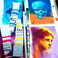 Complementary colors studies from yesterday's class! :D photo references; orange x cyan yellow x purple #gouache #study #painting #sketchbook #art #skull #jamesdean