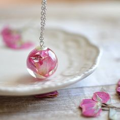 Rose necklace real flower jewelry flower necklace by EightAcorns