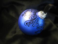 Baroque Design Swirls - Hand Painted Glass Ball Christmas Ornament - Brilliant Blue with Black Swirl Quilted Christmas Ornaments, Fabric Ornaments, Handmade Christmas Decorations, Hand Painted Ornaments, Ornaments Design, Diy Christmas Gifts, Christmas Bulbs, Ball Ornaments, Christmas Stuff