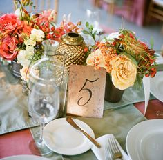 Copper calligraphy table numbers shot by A Bryan Photo