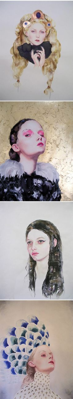 Whoa. Lovely, and kinda weird…. my favorite combo! These portraits are the work of American artist Serena Cole. I was in Minneapolis in June, and I wish I was still there because Serena has a show opening at SooVAC on September 15th. If you're there… go!