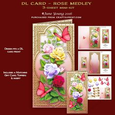 """A 3-sheet mini-kit for a DL size card (which will fit in a normal 4.1/4"""" x 8.1/2"""" envelope with plenty of room to spare) it features a beautiful spray of 4 different coloured Roses, embellished with toning butterflies, set in a gold filigree frame surround. The kit contains a complete cut and fold card, a matching insert and gift card, and decoupage for the card front.  There are also two toppers which you can use any way you wish. There are also six greetings panels, two are blank for your…"""