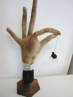 WITCH HAND HALLOWEEN Decoration.  Use old glass door knob for base.