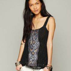 Free people knit tabletop with sequins Beautiful detail, longer in back. Great condition. Free People Tops