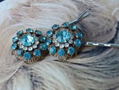 Decorative Kramer Bridal Turquoise Rhinestone Hair by WillowBloom, $38.50