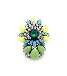 Bright Lights Green - Chunky statement ring featuring multilayer rhinestone gems  S/M/L fit
