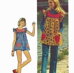 I wore one of these - they  look like aprons now but they were called pinafore shirts then (I think)