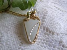 Wire Wrapped Frosted White Lake Erie Beach Glass Sea glass Gold Filled Pendant