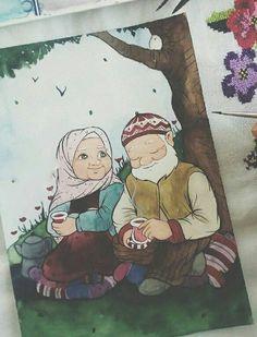 True love, Islam way. Cute Muslim Couples, Muslim Girls, Muslim Women, Hijab Drawing, Islam Marriage, Islamic Cartoon, Anime Muslim, Hijab Cartoon, Cute Love Cartoons