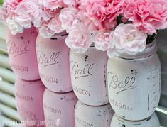 Pink Ombre Painted Mason Jars