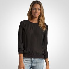 Joie Medley Matte Silk Sweater in Caviar   www.jamilynclothes.com