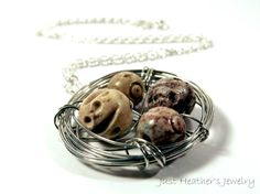 Bird's nest necklace- brown and tan carved stone beads