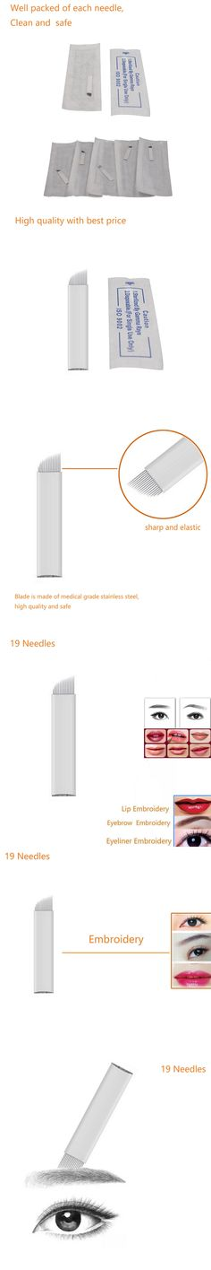 19 Pin 3D Embroidery Sterilized Stainless Steel Permanent Makeup Needles For Eyebrow Lip Embroidery Microblading Supplies Blade