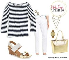 Striped nautical top with gold accessories