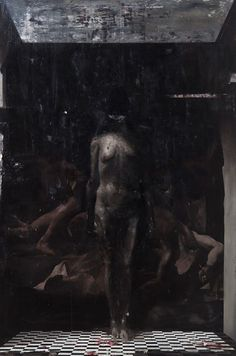 Nicola Samori - School of Pan - 2011, oil and paint remover on linen, 300 x 200 cm