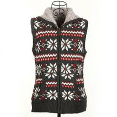 $6.82 Winter Fashion Snowflake Jacquard Hooded Women's Christmas Waistcoat With Warm and Fluffy Lining