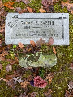 Rest place of 8-month-old Sarah Elizabeth, daughter of Roseanne McCoy and Johnse Hatfield. Found in Pike Co KY as part of the Hatfield McCoy driving tour.