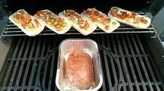 Beenham en belegde ciabatta broodjes