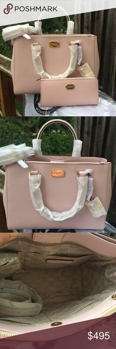 MK Set - Medium Kellen and Large Jetset Wallet Blossom Pink - Michael Kors Kellen Medium Satchel Leather Bag 14 in (Middle Width) x 9 in (Height) x 5 in (Depth) Handles are 4 inches (10 Cm) drop. Double handles. A longer, detachable crossbody strap included. Interior lined with signature nylon. Side zipped pocket, a wallet pocket, a cellphone pocket and 2 slip pockets.  Includes Jetset travel saffiano leather wallet with golden hardware. Interior, logo fabric lining; two open and one zip…