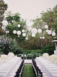 "#BlackandWhite "" Backyard "" Wedding on http://www.StyleMePretty.com/2014/01/20/classic-pacific-palisades-wedding | DesiBaytan.com Photography | Wedding Tables | Wedding Decor"