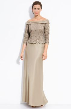 The Dress I wore to my Daughter's Wedding :)   Alex Evenings Off the Shoulder Lace Top with Satin Skirt | Nordstrom