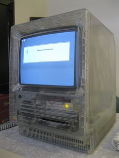 a prototype Macintosh SE with a clear plastic outer case.  Read more at http://www.cultofmac.com/165784/another-rare-vintage-mac-surfaces-macintosh-se-with-clear-plastic-case/#1kaf0sBsg6uHzqfs.99