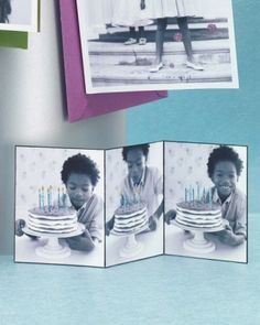 How-to: Glittered photo card. Add the glitter to key images like candles or a halo around mom.