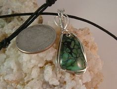 Rare and Beautiful Blue Green Variquoise Wire Wrapped in Argentium Sterling Silver Wire 536