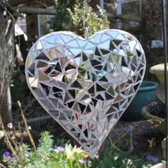 Hanging Silver Mirror Mosaic Heart Ornament For The Garden Or Home