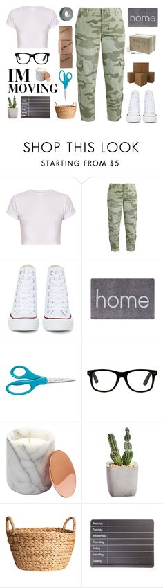 """""""IM MOVING RTD"""" by aby-ocampo ❤ liked on Polyvore featuring BasicGrey, Current/Elliott, Converse, Doormat Designs and Möve"""