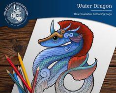 Water Dragon Coloring Page, Sea Serpent, Fantasy Art, Magical Creature, Digital Download
