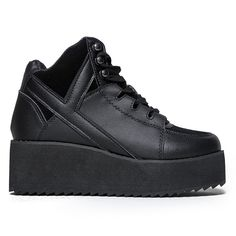 70f339c4709c Y.R.U. Qozmo Low Key Platform Sneakers in Black 4 Inch Heels