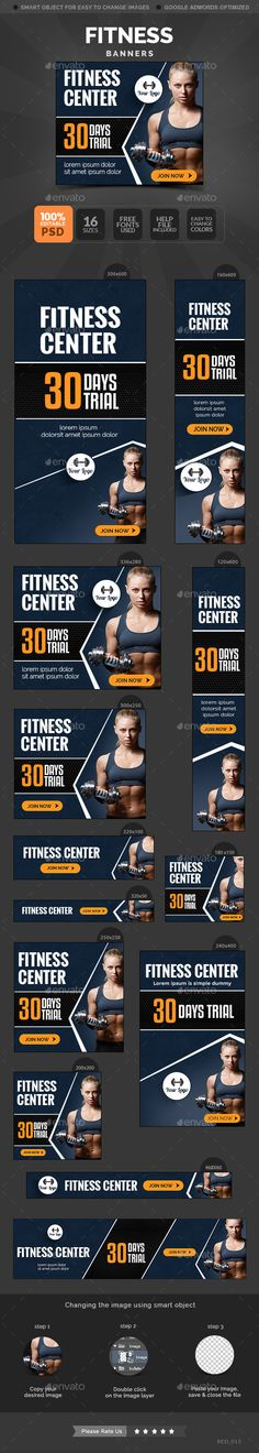 Fitness Banners - Banners & Ads Web Template PSD. Download here: http://graphicriver.net/item/fitness-banners/10654599?s_rank=1793&ref=yinkira